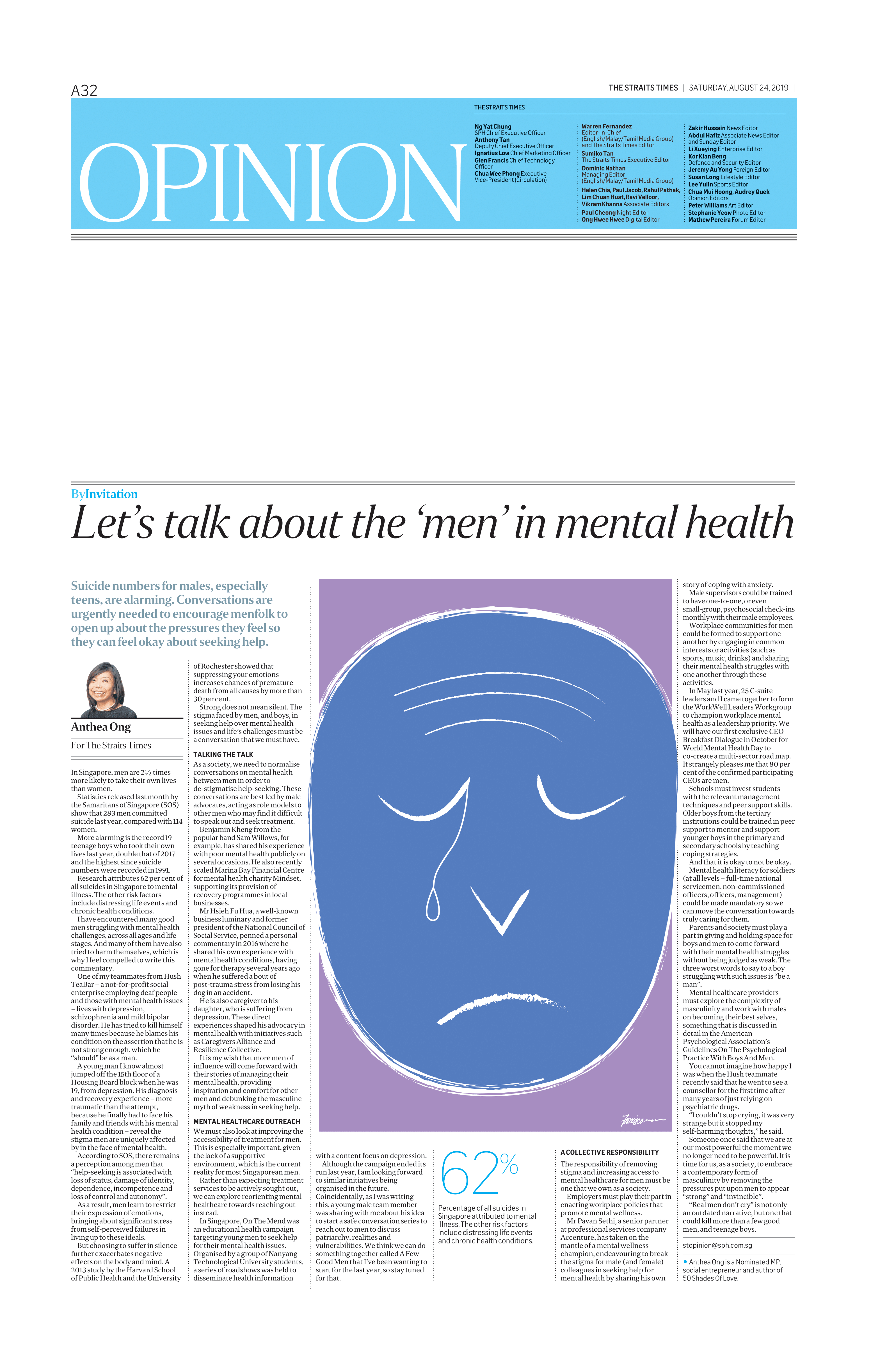"Let's talk about the ""men"" in mentl health 24 Aug 2019"